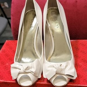 Guess White Patent Leather Peep Toe Pumps Size 7.5